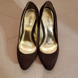 Brown suede pumps by Charles David